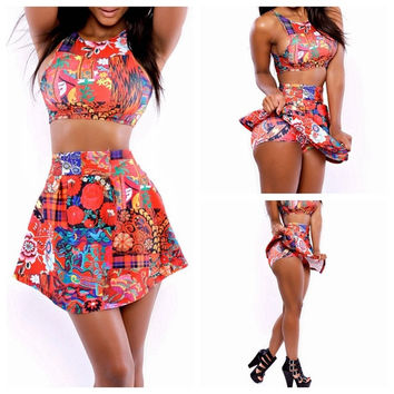 Sexy Womens Ladies Sassy Floral Retro High Waist Bikini Set Swimwear Swimsuit Top+Culottes = 1956913412