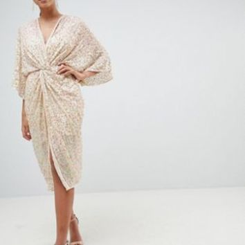 ASOS DESIGN Midi Plunge Embellished Kimono Dress at asos.com