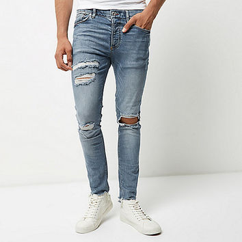 Light blue wash ripped Sid skinny jeans - skinny jeans - jeans - men