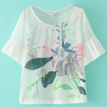 White Leaf Printed Short Sleeve T-Shirt