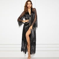 Contrast Lace Belted Satin Robe