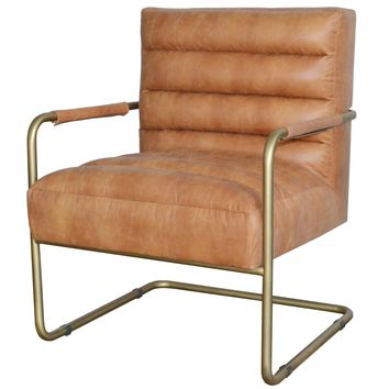 Peyton Bonded Leather Chair Gold Frame, Vintage Cider