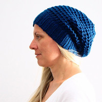 Women chunky crochet slouchy hat in blue winter fashion, Clio Hat