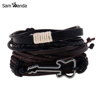 Fashion Jewelry Alloy Guitar Bracelet Hemp Rope Woven PU Rivet Beaded Leather Bracelet Men Casual Vintage Punk Bracelet MCC0055