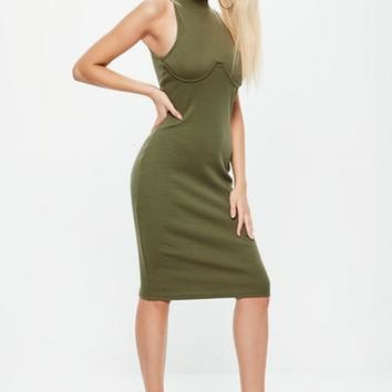 Missguided - Khaki High Neck Bust Cup Bodycon Midi Dress