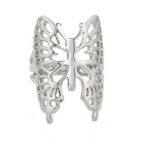 Large Openwork Butterfly Ring in Rhodium Plate