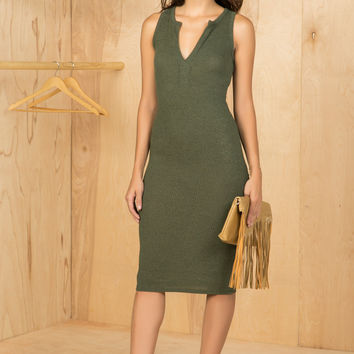 Olive You Sleeveless Midi Dress- FINAL SALE