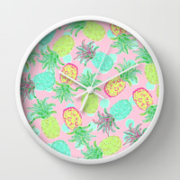 Pineapple Pandemonium Tropical Spring Wall Clock by Lisa Argyropoulos | Society6