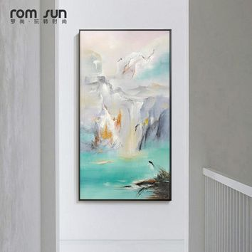 Abstract Landscape Mountains n River Canvas Painting Posters Print Modern Decor Wall Art Pictures For Living Room Bedroom Aisle