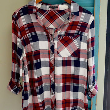 Navy and Wine Plaid Button Up