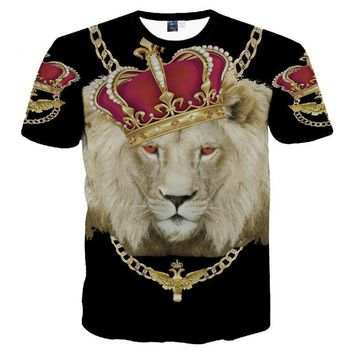 Gold Chain Crown Lion 3D Print T-Shirt