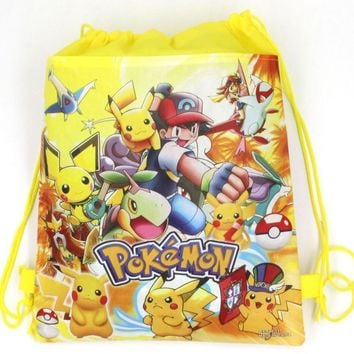12Pcs Pokemon Pikachu Drawstring Boys Girls Cartoon School Bag Children Printing School Backpacks for Birthday Party Gifts