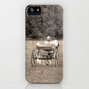 Vintage Inspired Horse Carriage and Westie in Sepia iPhone & iPod Case by Brooke Ryan Photography