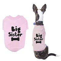 Big Sister Pet T-shirts Cute Dog Apparel Puppy Cloth Funny Baby Pink Dog Tees