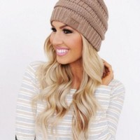 Winter Comfortable Womens Knitted CC Beanies