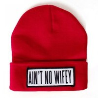 AINT NO WIFEY BEANIE WOLLY HAT DOPE ILLEST HYPE BLACK RED PINK WHITE UK SELLER