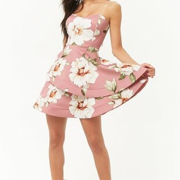 Floral Tube Illusion Fit & Flare Dress