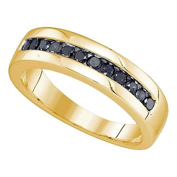 10kt Yellow Gold Men's Round Black Color Enhanced Diamond Wedding Band Ring 1/2 Cttw - FREE Shipping (US/CAN)