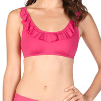 Coral Ruffle Detail Swim Top - Coral