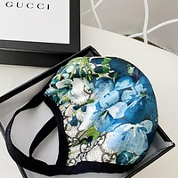 GUCCI Masks Strawberry Masks, satin and glossy fabrics, high-quality cotton Protective mask blue flower