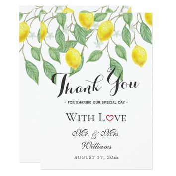 Modern Boho Lemon Summer Wedding Thank You Card