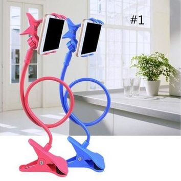ONETOW Creative Gift Artifact Bedside Can Bend Lazy Bed Mobile Phone Support Frame Clamp Universal Mobile Phone Rack on Bed Mobile Phone Clip [8270579137]