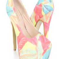 Feather Printed Platform Pump High Heels Faux Leather