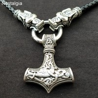 Nostalgia Thor Hammer Norse Viking Dragon Necklace Long Leather Mjolnir Amulet Wicca Pagan Witchcraft Jewelry