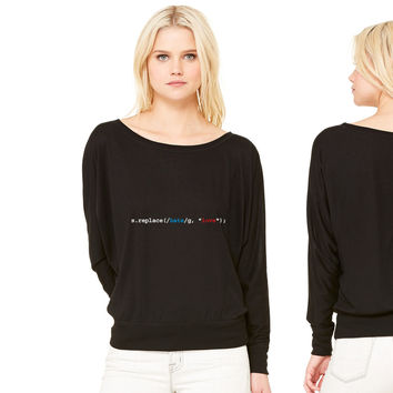 replace hate with love women's long sleeve tee