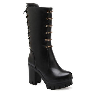 Fashionable Women's Mid-Calf Boots With Lace-Up and Metal Design