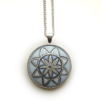Stylish Sacred Geometry Necklace  - Blue Pendant -  Floral Pattern Wood Jewelry  - Hand Painted - Gouache Painting