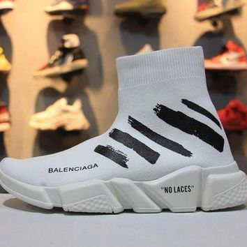 PEAP6 OFF WHITE x Balenciaga Speed Stretch Knit Mid Sneakers Scapra Dlast.s.Go MMA White Socks Shoes