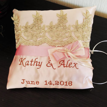 Personalized Ring Bearer Pillow,Blush, Dusty Rose and Cream Wedding Pillow, rose Ring Pillow, Personalized, Ring Pillow rose pink pillow