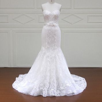 Mermaid Wedding Dress Handmade Flowers Royal Train Off the Shoulder Appliques Lace Bridal Gowns