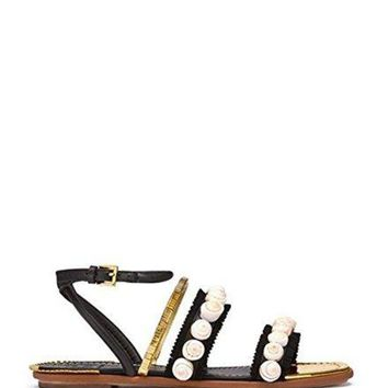 DCCKG2C Tory Burch Sinclair Black Gold Sandals 7