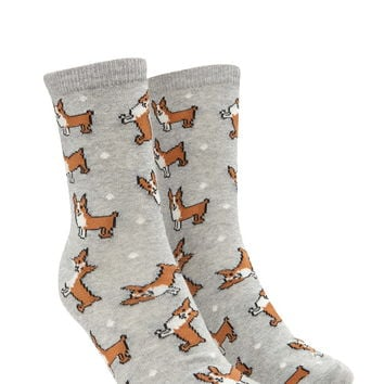 Corgi Graphic Crew Socks
