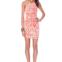Neolithic Braided Dress in Coral and Taupe :: tobi
