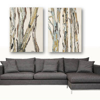 Extra Large wall art set canvas Oversized white artwork VERY LARGE white diptych Canvas Print trees bedroom living dining room artwork