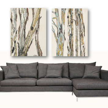 Extra Large Wall Art Set Canvas Oversized White Artwork VERY LARGE White  Diptych Canvas Print Trees