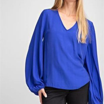Balloon Long Sleeve Top - Royal Blue