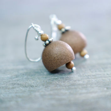 Earthy Earrings, Small Dangle Style, Whimsical Jewelry, Unusual Design, Uncommon Goods, Vintage Copper Bell Tiny Sandalwood Sterling Silver