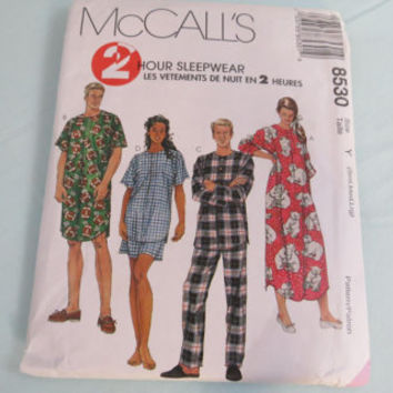McCall's 2 hour sleepwear pattern 8530 size S M L Unisex Nightgown and Pajamas Sewing Pattern