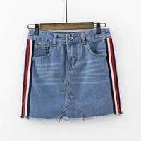 All-match Fashion Casual Multicolor Stripe Stitching Denim Short Skirt