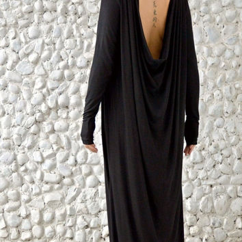 ON SALE 25% OFF Black Maxi Dress / Loose Backless Dress / Black Maxi Hooded Dress / Extravagant Black Hoodie / Plus Size Long Dress Tdk171 /