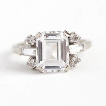 Created Spinel Ring - 14k White Gold Colorless 3.63 Carat Emerald Cut Statement - 1960s Size 6 3/4 Retro Baguette Accents 50s Fine Jewelry