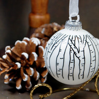 Carve Your Initials in a Tree – Keepsake Hand Painted White Glass Christmas Ornament, Great Gift for Wedding, Anniversary or 1st Christmas