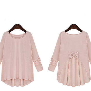 Plus Size Vintage Bow Tie Long Sleeve Tee Sizes up to 5X - ON SALE! 7 DAYS!