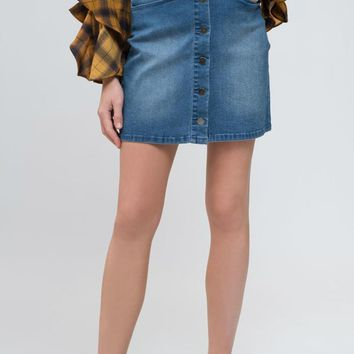 Women's Button Front Scalloped Denim Mini Skirt