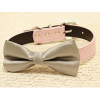 Gray Dog Bow Tie attached to collar, Gray wedding, dog birthday gift
