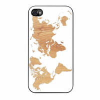 World Map On Wood Texture Print White iPhone 4 Case